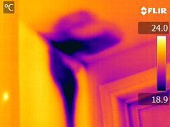 IR image of bathroom leak